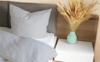 135x200cm Leinenbettwäsche im Bett